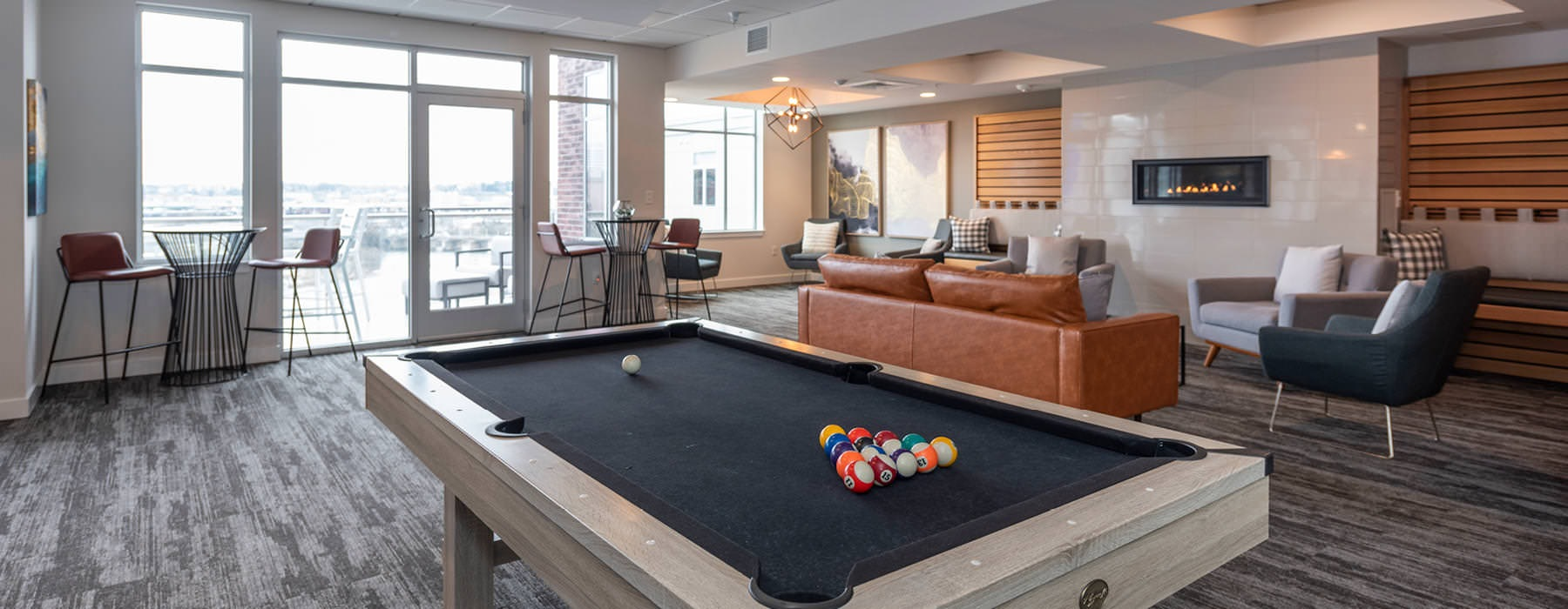 billiards table in spacious residents' lounge