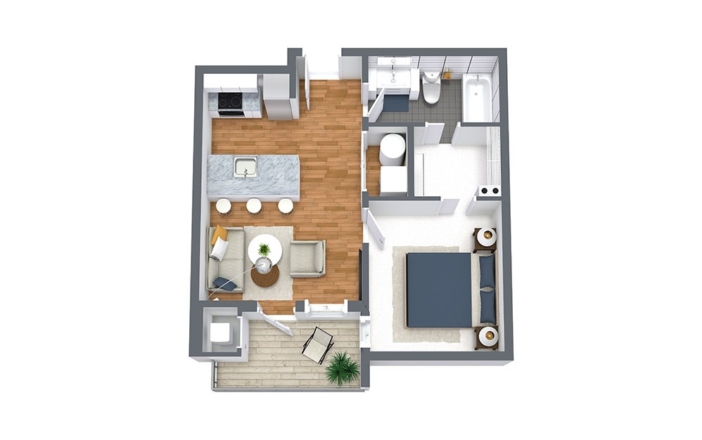 Tide - 1 bedroom floorplan layout with 1 bath and 544 square feet.
